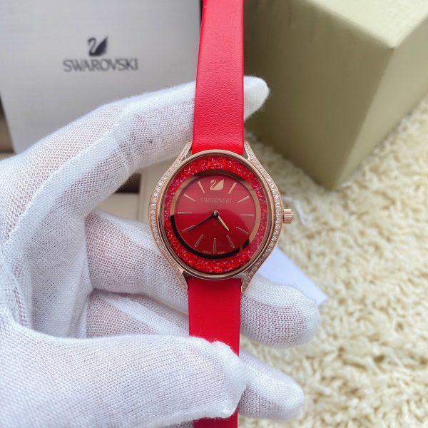 Đồng hồ Swarovski nữ dây da màu đỏ