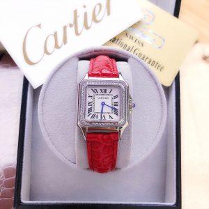 Đồng hồ Cartier nữ dây da mặt vuông