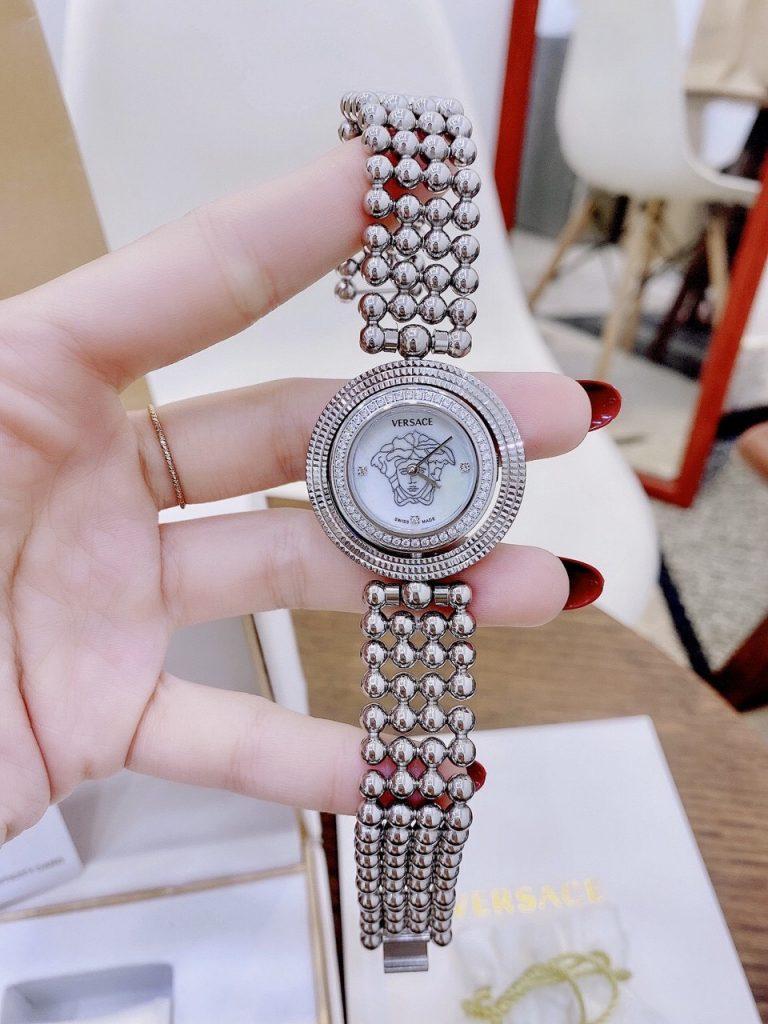 Đồng hồ Versace nữ dây kim loại mặt xoay
