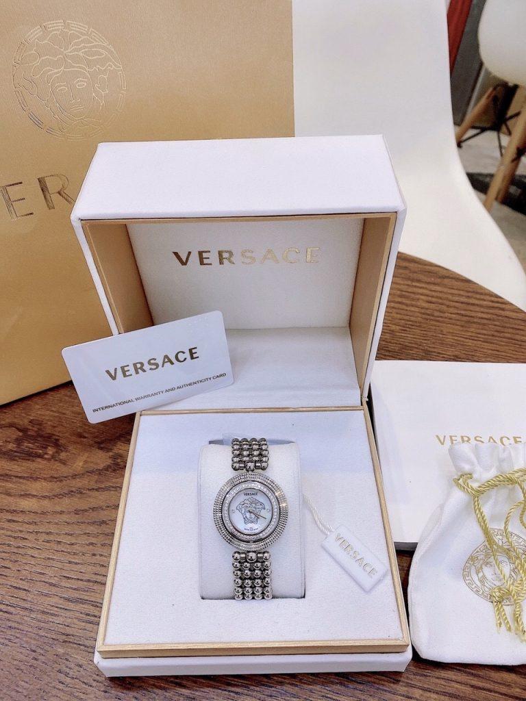 Đồng hồ Versace nữ mặt tròn đính đá