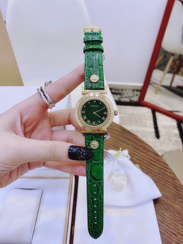 Đồng hồ Versace nữ mặt tròn dây da