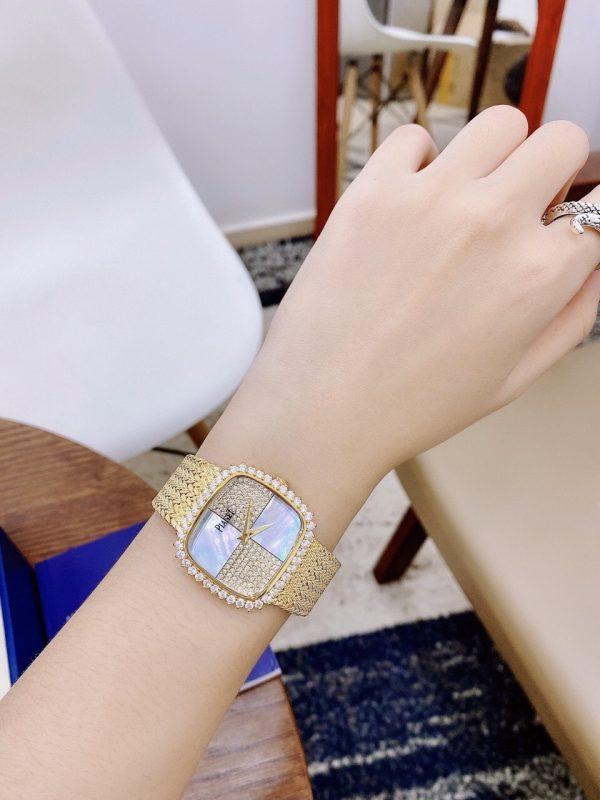 Đồng hồ nữ mặt vuông Piaget đính đá