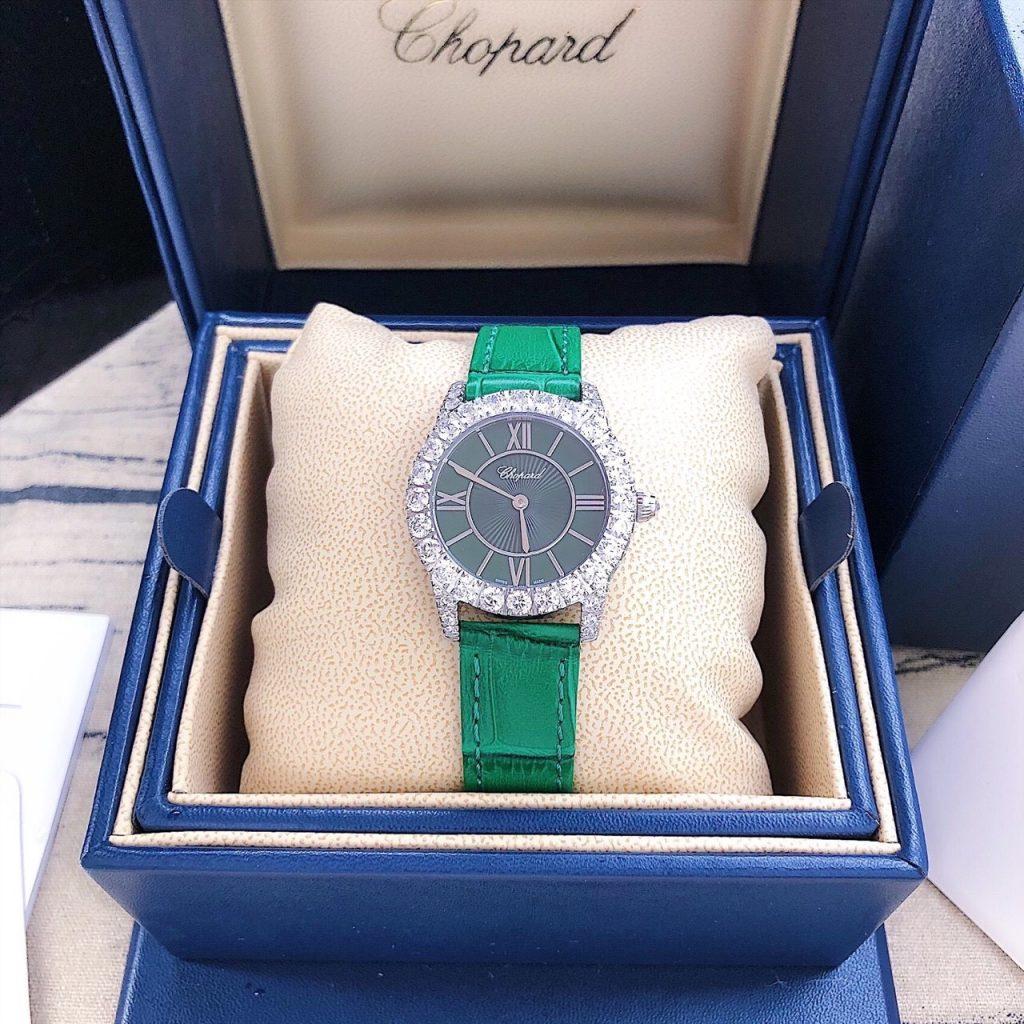 Đồng hồ nữ dây da màu xanh