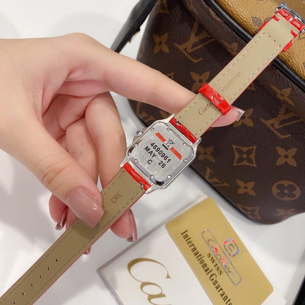 Đồng hồ Cartier nữ dây da màu đỏ