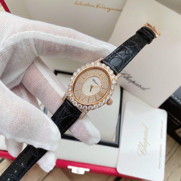Đồng hồ Chopard nữ dây da màu đen