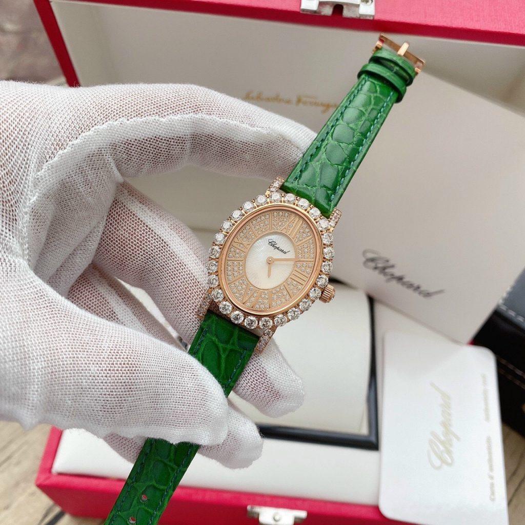 Đồng hồ Chopard nữ dây da màu xanh