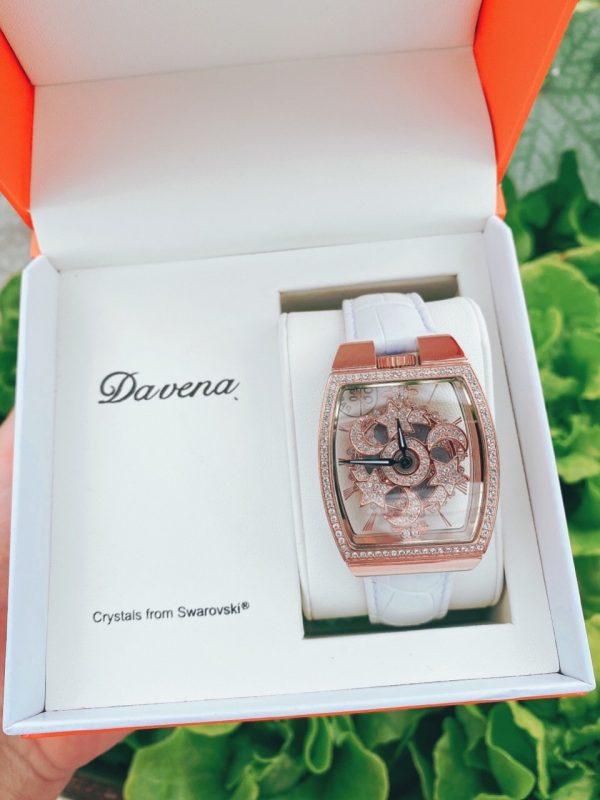 Đồng hồ Davena nữ mặt vuông đính đá