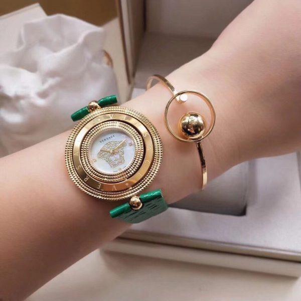 Đồng hồ Versace nữ dây da mặt xoay