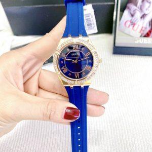 Đồng hồ Guess nữ dây cao su màu xanh