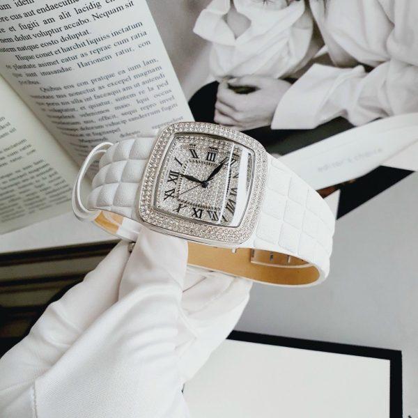 Đồng hồ Davena nữ dây da màu trắng