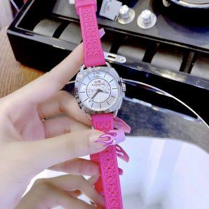 Đồng hồ Coach nữ dây cao su màu hồng